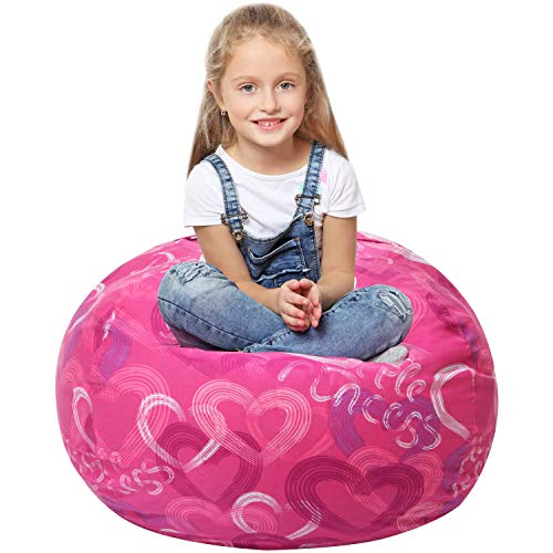 5 STARS UNITED Stuffed Animal Storage Bean Bag - Large Beanbag Chairs for Kids - 90+ Plush Toys Holder and Organizer for Boys and Girls - 100% Cotton Canvas Cover - Pink Princess Beanie Bean Bag Plush