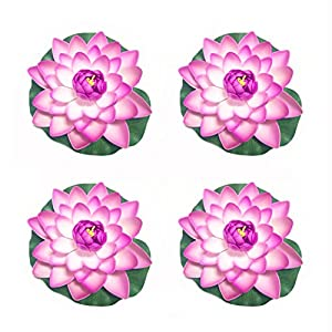 """Emmix Artificial Water Lilies Foam Floating Lotus Flower for Pool Decoration and Pond Decoration 7"""" Set of 4 (Purple) 97"""