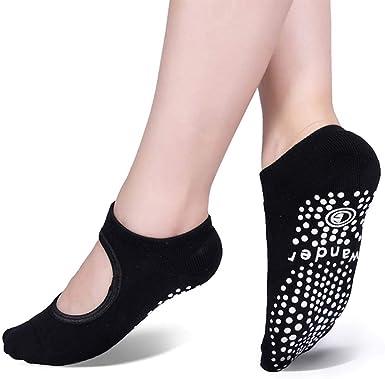 Girls Yoga Accevo 3Pairs Womens Non-Slip Yoga Socks Clasped Pilates Socks Womens Non-Slip Grips /& Straps