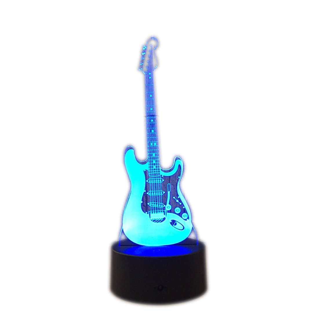 DB.WOR LED Guitar Night Light - Colorful LED Lamp 7 Color Change Optical Illusion Touch Table Desk Lamp Birthday Gift for Men Boyfirend Boys Kids Baby