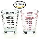 Small Measure Multi-Purpose Liquid and Dry Measuring Shot Glass, Heavy Glass, 26-Incremental Measurements,Wine Measuring,Measures 1oz, 6 Tsp, 2 Tbs, 30ml (2pcs)
