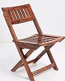 Custom Decor Natural Finish Comfort Folding Chair - Indian Sheesham Wood