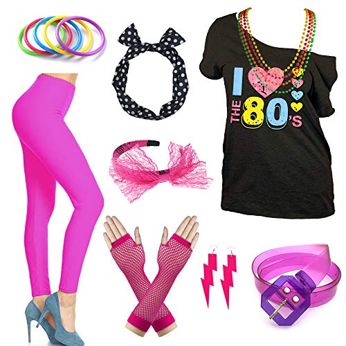 I Love The 80s Disco T-Shirt 1980s Party Theme Costume Outfit Accessories (X-Large, Neon Hot Pink) -