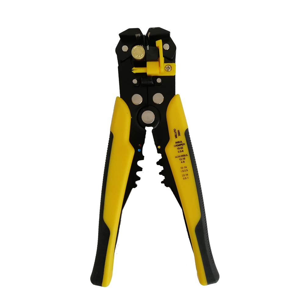 Self-Adjusting Insulation Wire Stripper, 8'' Automatic Electric Cable Wire Stripping Tool/Cutting Pliers Tool, Automatic Strippers with Cutters & Crimper 10-24 AWG Yellow