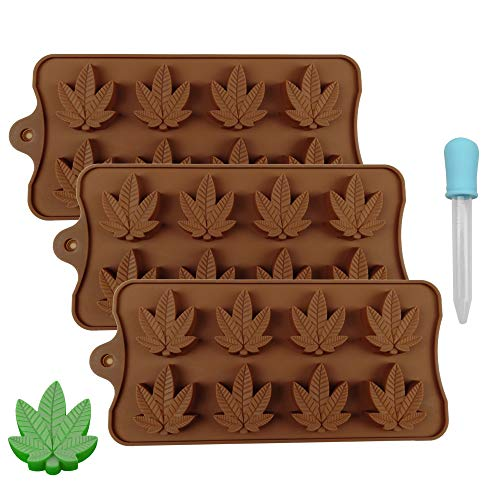 MOMOONNON 3 Packs DIY Maple Leaf Silicone Novelty Baking Candy Molds Leaves Trays with 1pc Dropper for Party Cake ()