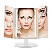 E-SDS Lighted Makeup Mirror with 24 LED Lights,10X/3X/2X/1X Magnifying Mirror,Touch Sensor Control,Dual Power Supply,180°Adjustable Stand Desk Trifold Vanity Mirror(White)