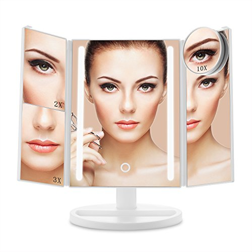 E-SDS Lighted Makeup Mirror with 24 LED Lights,10X/3X/2X/1X Magnifying Mirror,Touch Sensor Control,Dual Power Supply,180°Adjustable Stand Desk Trifold Vanity Mirror(White) Panel Folding Bath Screen