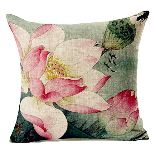 Lotus Cushion Cover - Acelive 18x18 Inches Dragonfly Throw Pillow Cushion Cover, Lotus Flower Field with Dragonfly Flying Oriental Blooms Artful Print, Decorative Square Accent Pillow Case