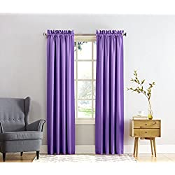 "Sun Zero Barrow Energy Efficient Rod Pocket Curtain Panel,Purple,54"" x 84"""