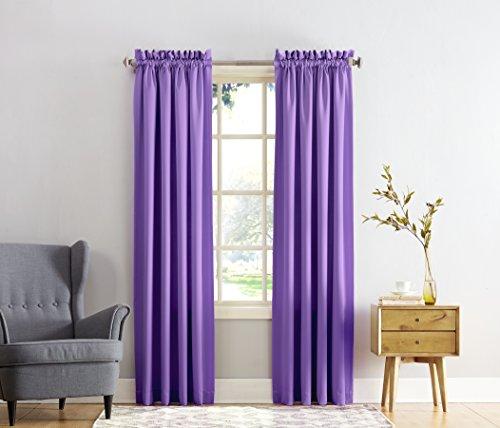 Sun Zero Barrow Energy Efficient Rod Pocket Curtain Panel, 54' x 84', Purple