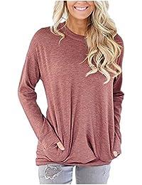 Women's Casual Solid T-Shirt Batwing Long Sleeve Tunic...