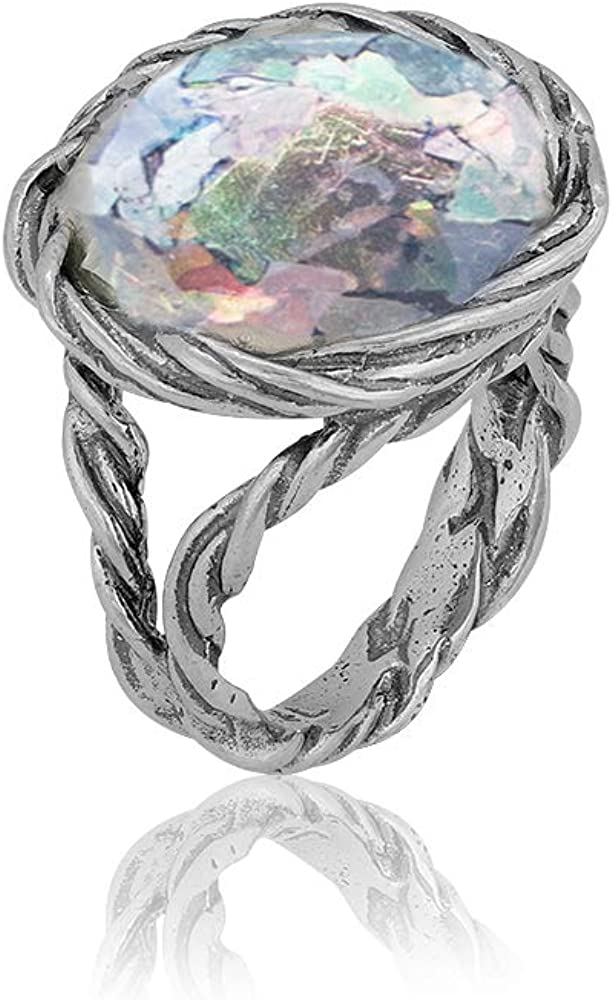 PZ Paz Creations Roman Glass Statement Ring for Women Girls   Sterling Silver Organic Design