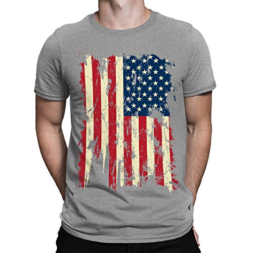 SpiritForged Apparel Vintage Distressed USA Flag Men's T-Shirt, Light Gray 2XL