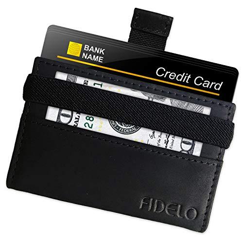Minimalist Wallet Credit Card Holder - FIDELO Mens Slim Wallet - RFID Blocking + Full Grain Genuine Leather