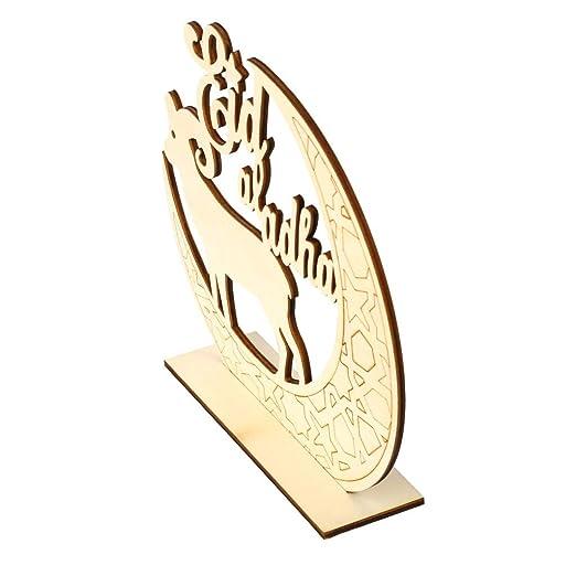 Wooden Decoration,Wood Wall Art Puzzle Decor Home Word Sign EID Mubarak Wooden Sign Word Plaque Wall Art Craft DIY Alphabet Home Decoration E