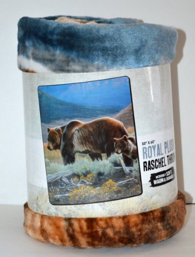 - Grizzly Bears Royal Plush Raschel Throw Blanket 50 x 60
