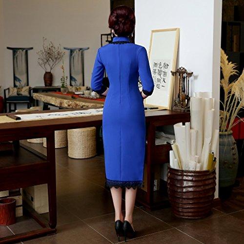 a 3 Maniche Lunghi Cheongsam ACVIP Elegante Donna 4 Zaffirino 8wYXXqp