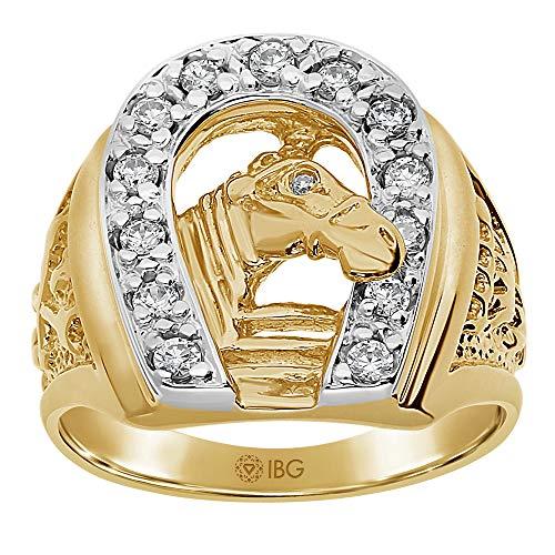 Men's 14k Two-Tone Gold Diamond Horseshoe Ring (1/2 cttw, H-I Color, I1-I2 Clarity), Size 11