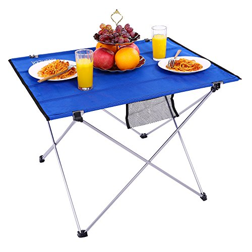 FLYZOE Camping Table Compact Foldable Roll Up Table with Carrying Bag for Picnic Camping Fishing