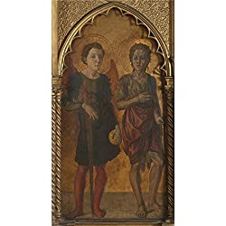 Oil Painting 'Jacopo Di Antonio (Master Of Pratovecchio) Saints Michael And John The Baptist' 12 x 22 inch / 30 x 56 cm , on High Definition HD canvas prints, gifts for Basement, Gym And Kitch decor