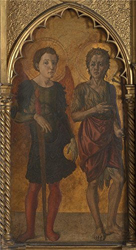 'Jacopo Di Antonio (Master Of Pratovecchio) Saints Michael And John The Baptist ' Oil Painting, 30 X 55 Inch / 76 X 140 Cm ,printed On High Quality Polyster Canvas ,this High Resolution Art Decorative Prints On Canvas Is Perfectly Suitalbe For Home Theater Decor And Home Artwork And Gifts (Centerpieces Michaels Wood)