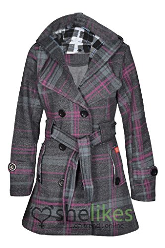 Envy Boutique Women's Belted Button Coat Hood Jacket Top Cha