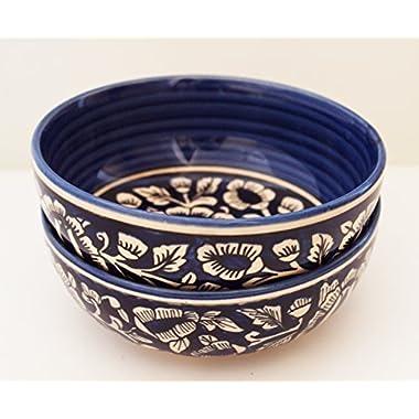 Guddé Set of 2 Handmade Ceramic Bowls (Medium 7.5  Blue)