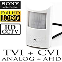 USG Sony IMX322 1080P@30FPS 2MP HD Hidden Spy Security Camera : 48x 940nm Invisible IR LEDs, IR Cut Filter, 2.8mm Wide Angle Lens, WDR, HD-TVI, HD-CVI, AHD, Analog : PIR Motion Detector Sensor Housing