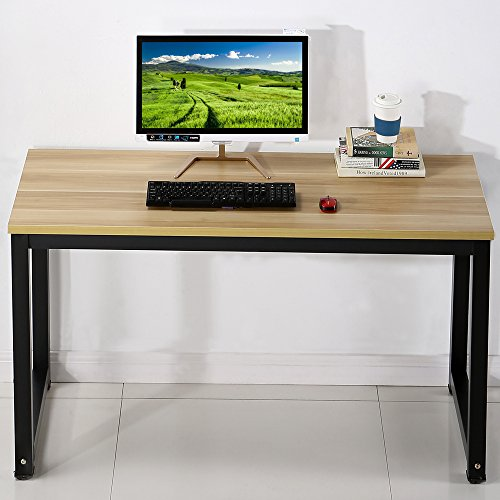Computer Desk Writing Desk Workstation Office Desk Dining Table, Walnut + Black Leg, 47.2''(L) X23.6(W) X29.1(H) by EHOMEBUY