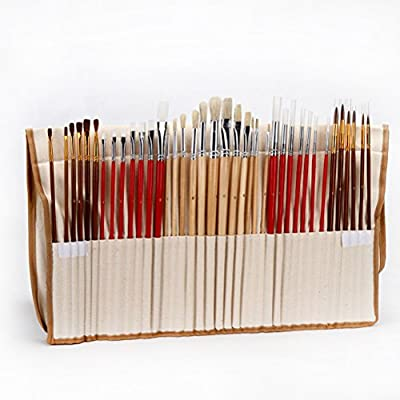 WINOMO 38 Paint Brush Set with Canvas Holder Synthetic Hair Art Brushes for Watercolor Oil Acrylic Painting