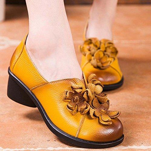 da nazionale chunkly scarpe mocassino scarpe corte ballo rotondo da scarpe da formato nappa Pattino 34 5cm vento slip scarpe 39 fiore casual nappa sulle loafer ballerinas eu donna tacco piede Yellow ballo nT0IP
