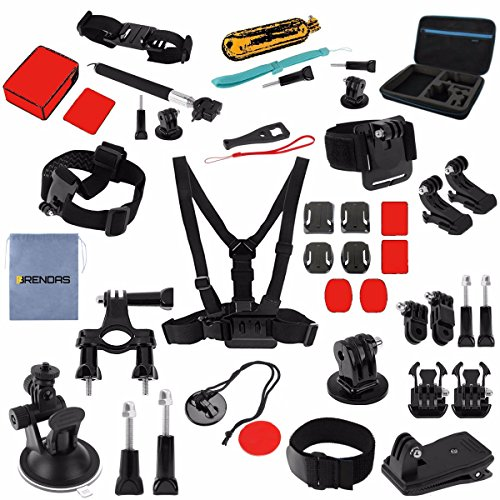 BRENDAS – 53 Pcs Sports Action Accessories Kit Bundle for GoPro Hero 5 4 3 2 1, SJCAM SJ4000 5000 6000 7000, Xiaomi Yi WiMiUS Action Cameras