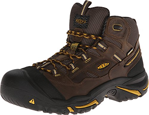 KEEN Utility - Men's Braddock  Mid Waterproof (Steel Toe) Work Boots, Cascade Brown/Tawny Olive, 10.5 D