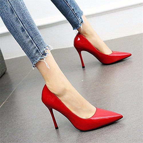 de Baja tacón Alto Moda Temperamento Las de de Mujeres Zapatos Boca Fino de señaló YMFIE C de Trabajo Zapatos Cuero 5wS1xq8