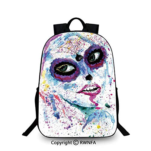 (Kids Backpack Children Bookbag,Grunge Halloween Lady with Sugar Skull Make Up Creepy Dead Face Gothic Woman Artsy Plain Bookbag Travel Daypack Blue)