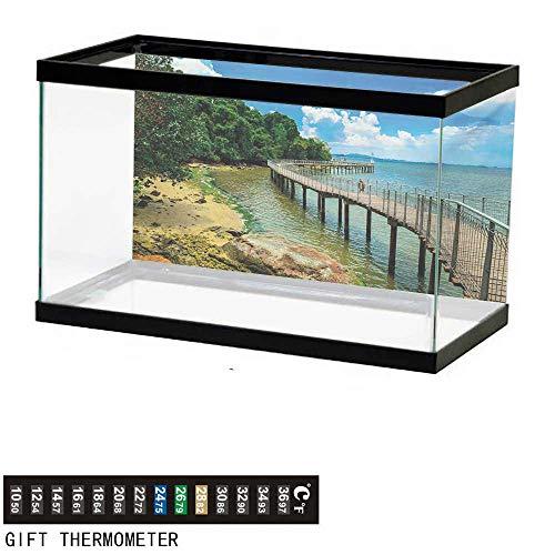wwwhsl Aquarium Background,Coastal,Boardwalk on The Bridge Singapore Island Rural View Sandy Beach Summertime,Green Blue Brown Fish Tank Backdrop 36