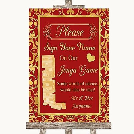 Letrero de boda rojo y dorado, diseño de jenga, color rojo y dorado, color Gold/Red A4 - MEDIUM: Amazon.es: Oficina y papelería