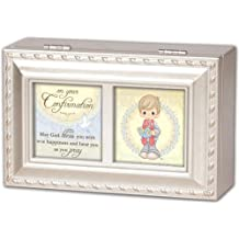 Precious Moments Confirmation Boy Cottage Garden Inspirational Champagne Silver Petite Music Box Plays Amazing Grace