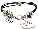 ChubbyChicoCharms My Heart Belongs To A Pit Bull, Pewter Beaded Black Waxed Cotton Cord Bracelet, 2.5''