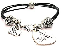 My Heart Belongs To A Pit Bull ChubbyChicoCharms Black Cord Connector Pewter Beaded Bracelet