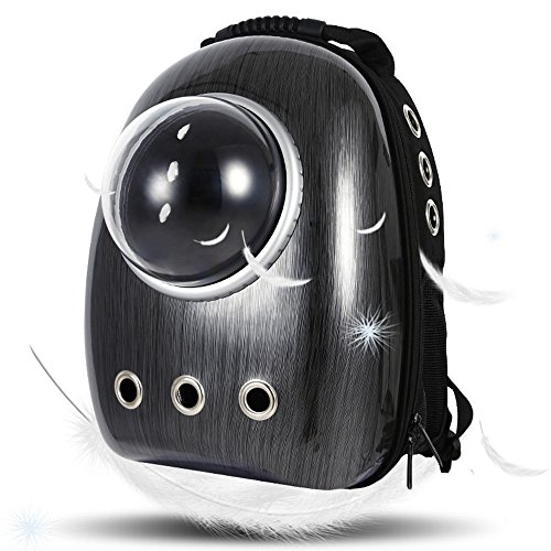 Lemonda Portable Travel Pet Carrier,Space Capsule Bubble Design,Waterproof Handbag Backpack for Cats, Small Dogs and Puppies Rabbits Ferret Multi Colors to Choose (Black)