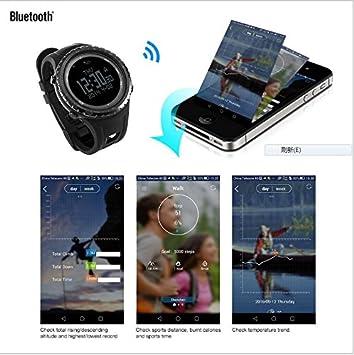 Sunroad® fr803 Bluetooth Sport Watch Digital Armbanduhr Herren Outdoor Wasserdicht HÖhenmesser Kompass RÜckseite