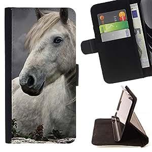 Momo Phone Case / Flip Funda de Cuero Case Cover - Horse Mane Naturaleza abstracta White Stallion - Sony Xperia Z5 Compact Z5 Mini (Not for Normal Z5)