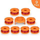 OFPOW Replacement String Trimmer Line, 10ft 0.065'' Grass Trimmer Line Spool for Worx WA0010, 9 Pack (8 Replacement Line Spool,1 Trimmer Cap)
