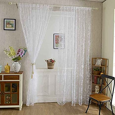 Omkuwl Sweet Butterfly Tulle Voile Door Window Curtains Drape Sheer Divider Pink