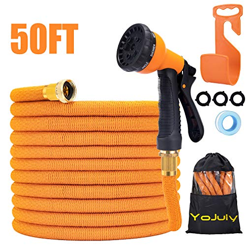YOJULY Garden Hose Expandable -50ft Garden Hose, Leakproof Lightweight Expanding Garden Water Hose 3-Layers Latex,Best Choice for Watering and Washing (50FT)