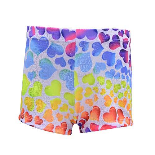ZIZI Big Girls' Sparkle Dance Tumbling Athletic Outfit Gymnastics Heart Short 11Y - Heart Athletic Shorts