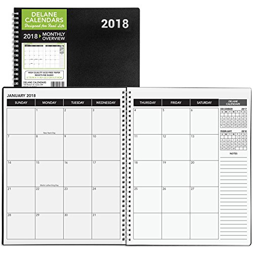 2018 Monthly Daily Planner Calendar / Appointment Book, Black Cover, 8.5 x 11
