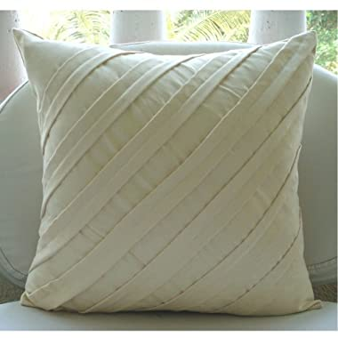 Contemporary Light Cream - 20x20 inches Decorative Throw Cream Suede Pillow Covers with Pintucks