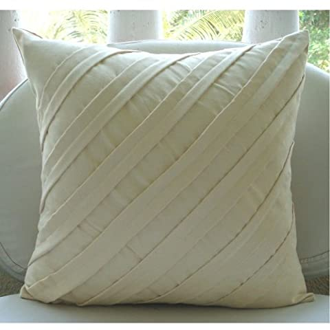 Cream Decorative Pillow Cover, Textured Pintucks Solid Color Pillowcases, 20